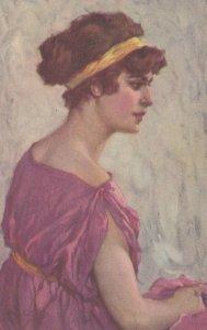 Art Deco Female Portrait , woman in Purple , 00-10s