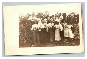 Vintage 1900's RPPC Postcard Large Family Gathering While Camping
