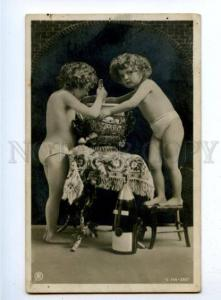 177750 NEW YEAR Champagne NUDE GIRLS Vintage PHOTO PC