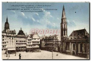 Old Postcard Frankfurt am Mein Roemer Square with Fountain of Justice