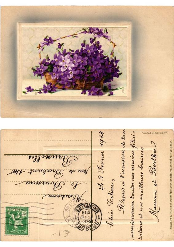 CPA Veilchen korbe Meissner & Buch Litho Serie 1591 (730506)