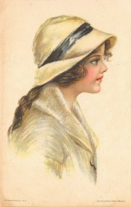 LP67  Artist Signed Fidler Postcard Pretty Woman American Girl No.83 White Hat