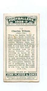 166946 Charles WILSON England footballer old CIGARETTE card