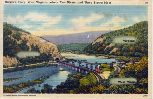 [ Linen ] US West Virginia - Harper's Ferry Where 3 States Meet