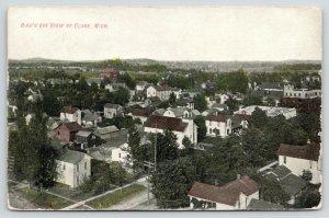 Clare Michigan~Birdseye View Overlooking Neighborhood~1910 Postcard