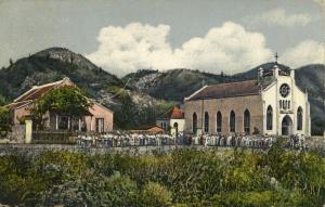 curacao, D.W.I., Large Crowd gathering at Village Church (1919) Postcard
