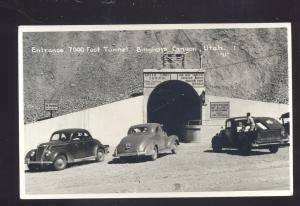 RPPC BINGHAM CANYON UTAH TUNNEL 1930's CARS TRUCK VINTAGE REAL PHOTO POSTCARD