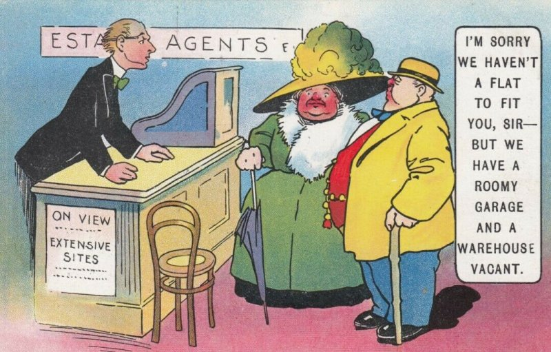 COMIC, 1900-10s; Large couple at Estate Agents