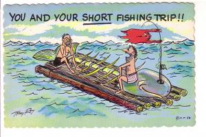 Tony Roy Cartoon, 'You and Your Short Fishing Trip', Two Men on a Raft with W...