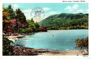 Maine Camden Mirror Lake 1946 Curteich