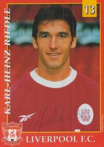 Karl Heinz Riedel of Liverpool Football Club Hand Signed Publicity Card Photo