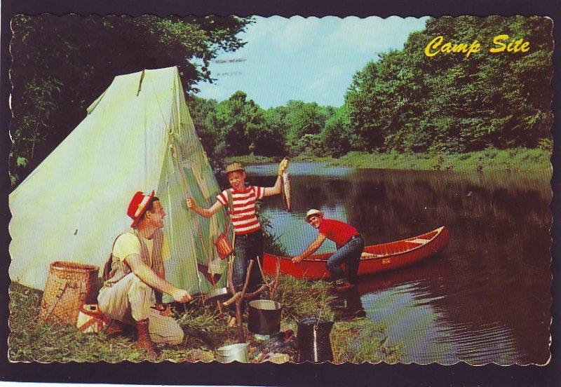 P1601 1970 RPPC fishing camp site campement de reve newcastle N.B. canada
