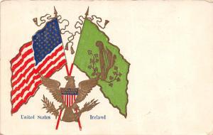 A57/ Patriotic Postcard United States USA 1918 Ireland Flag Gold Eagle 20
