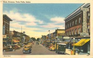 Autos Truck 1940s Main Avenue TWIN FALLS IDAHO Otto Tichnor linen postcard 4144