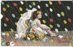 Vintage Postcard Little Victorian Girl w/Parasol/Baby Chicks Raining Easter Eggs