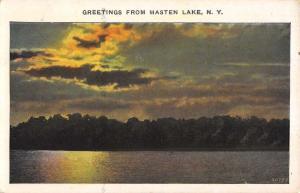 Masten Lake New York Sunset Waterfront Antique Postcard K88780