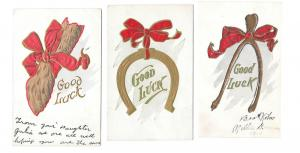 Good Luck Postcards Wishbone Horshoe Rabbits Foot Red Bow
