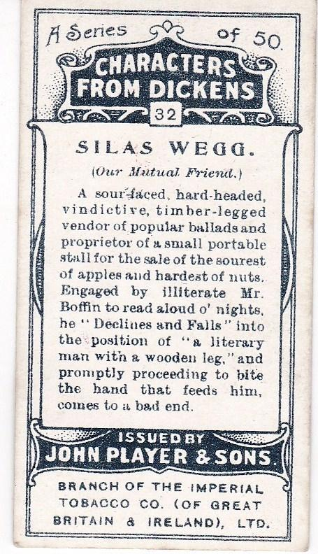 Cigarette Cards Players Characters From Dickens No 32  Silas Wegg