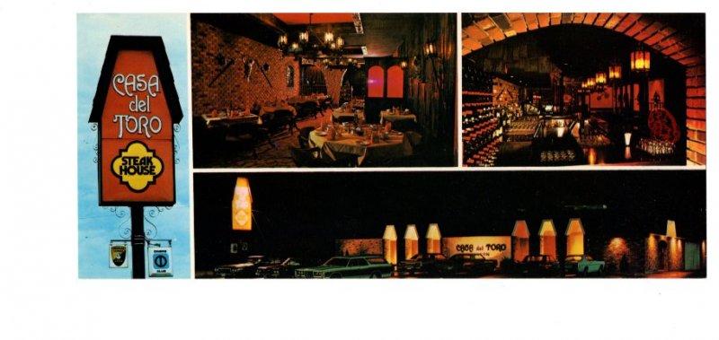 Casa del Toro Steak House, Welland, Ontario, Advertising Postcard