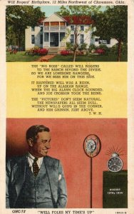 near Claremore, OK, Birthplace of Will Rogers, 1941 Linen Vintage Postcard g8706