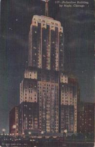 Illinois Chicago Palmolive Building By Night 1949 Curteich