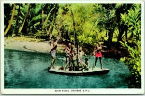 Vintage TRINIDAD, B.W.I. Postcard Rive Scene w/ 1939 U.S.S. PENSACOLA Cancel