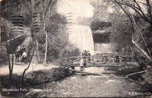 Minnesota Minneapolis Minnehaha Falls & Rustic Bridge 1908
