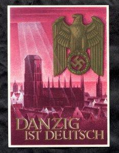 p374 - GERMANY Reich c1939 Danzig ist Deutsch Nazi Propaganda Postcard