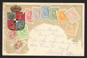 ROMANIA Stamps on Postcard Embossed Shield Used c1906