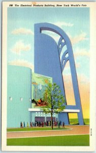 1939 New York World's Fair Postcard Electrical Products Building Linen Unused