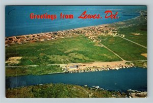 Lewes DE- Delaware, Delaware Bay, Rehoboth Canal, Aerial View, Chrome Postcard