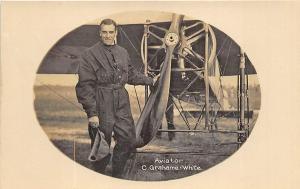 Aviator C. Grahame - White Airplane RPPC Postcard
