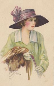 ART DECO ; Female wearing green coat and lilac hat, 1910-20s