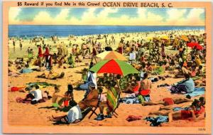 Ocean Drive Beach, SC Postcard $5 If You Find Me in This Crowd Linen c1940s