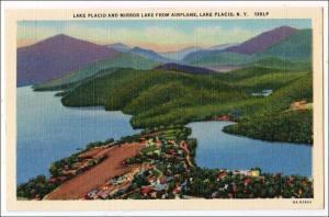NY - Lake Placid. Aerial View of Lake Placid & Mirror Lake