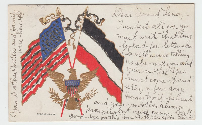 P2069 1906 postcard patriotic eagle shield & flags with glitter