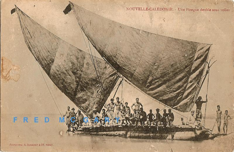 1910 New Caledonia Postcard: Heavily Loaded Double Pirogue with 2 Sails