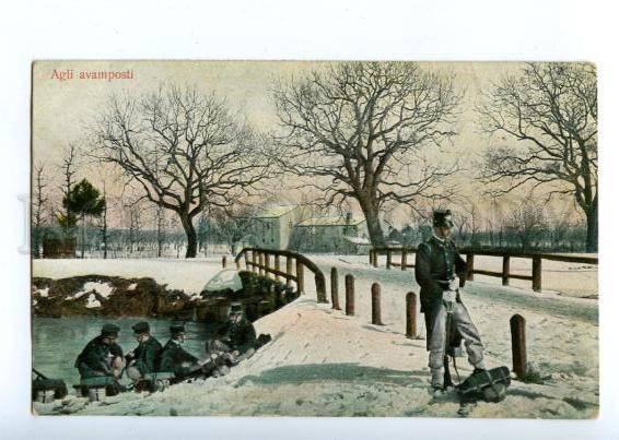 144673 ITALY military soldier Agli avamposti Vintage postcard