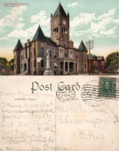 NEW MARTINSVILLE W.VA COURT HOUSE ANTIQUE 1908 POSTCARD