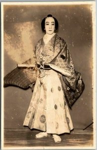 Vintage JAPAN Real Photo RPPC Postcard Kabuki Theater Actor in Costume