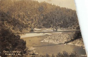 RPPC Cable Bridge, Auburn, CA Placer County c1910s Vintage Photo Postcard