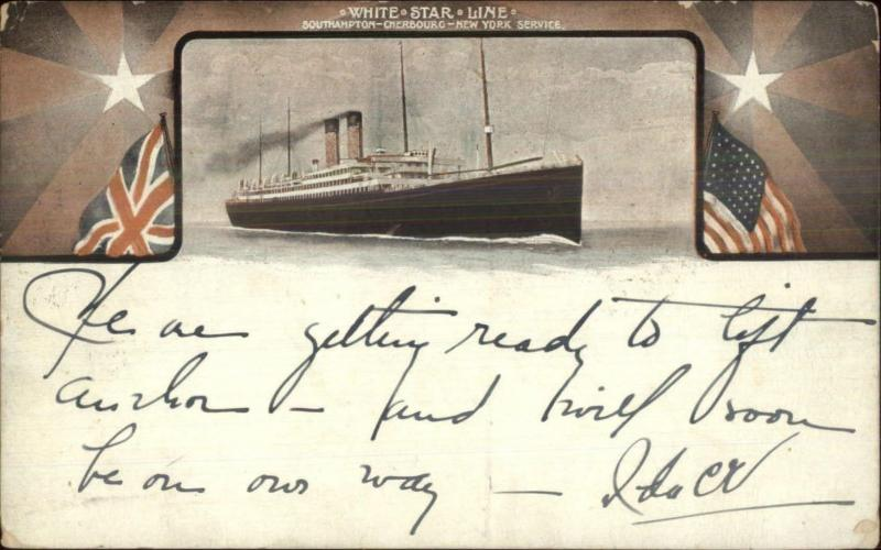 White Star Line Steamship British & American Flags 1909 Used Postcard
