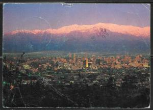 1989 Chile, Santiago in Twilight, mailed to USA