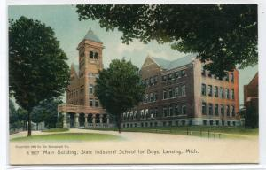 Main Building State Industrial School For Boys Lansing Michigan 1907c postcard