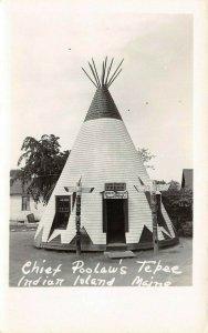 LP45   Indian Island  Maine  Penobscot Reservation Tepee  RPPC Postcard