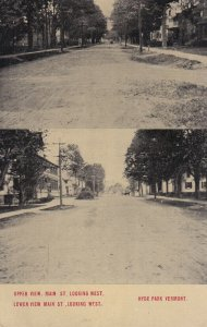 HYDE PARK, Vermont, PU-1917; Upper And Lower View Of Main Street Looking West