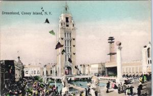 CONEY ISLAND, NY ~  DREAMLAND  Handcolored 1907  Amusement Park  Postcard