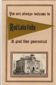 Good Time in Red Lake Falls MN~Mini RPPC North Side School~c1910 Felt Pennant