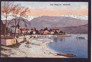 P1390 old unused postcard beautiful view lago maggiore-baveno lake town italy