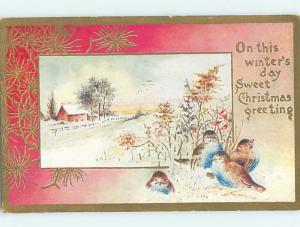 Pre-Linen christmas signed GROUP OF CUTE BIRDS ON A WINTER DAY HQ6481